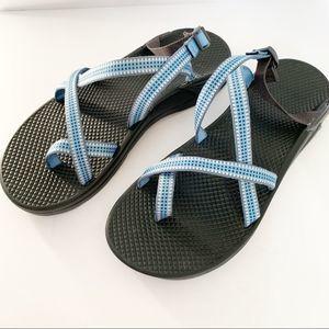 Chaco Tegu Hiking Sandal Blue White Toe Loop